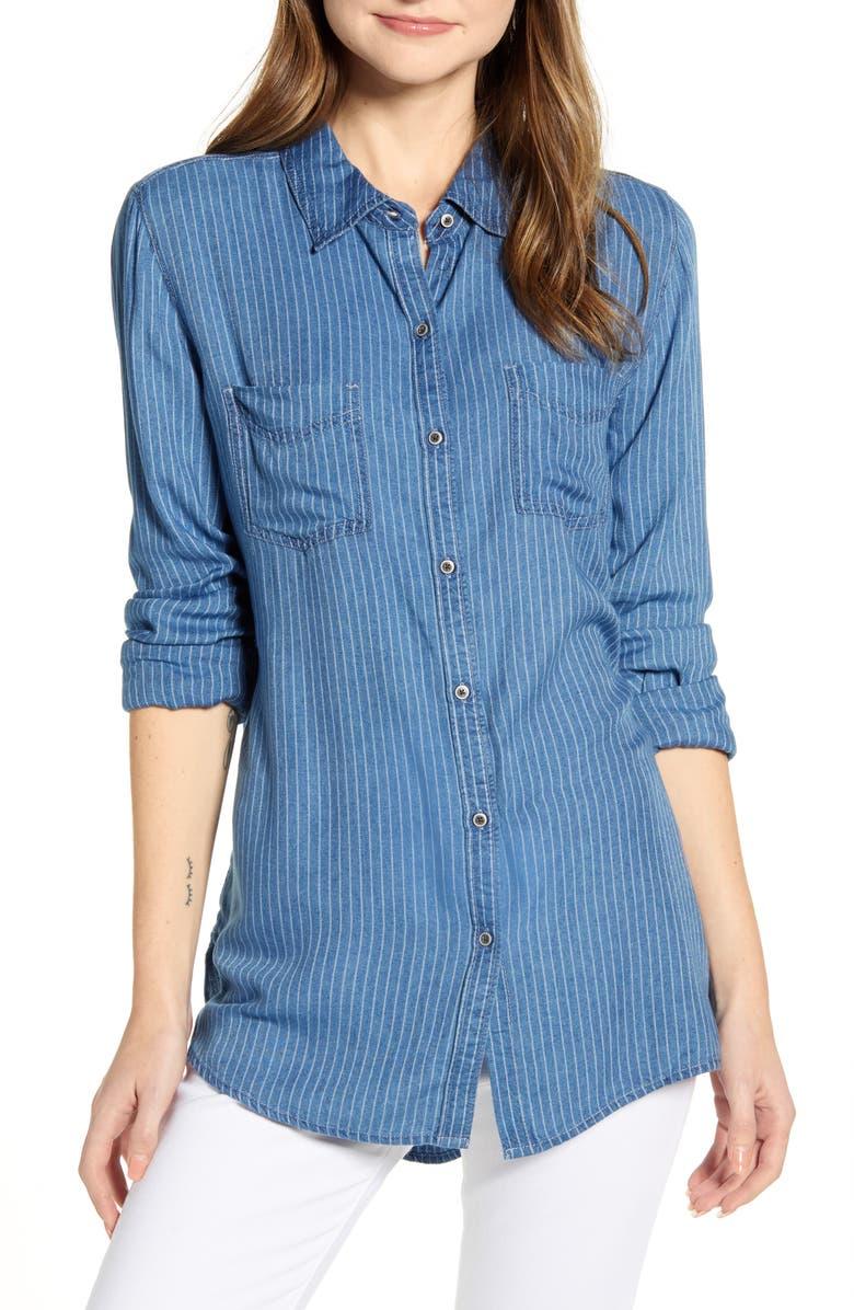 CASLON<SUP>®</SUP> Stripe Chambray Shirt, Main, color, 420