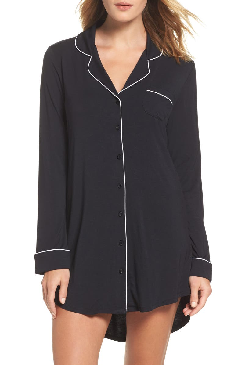 NORDSTROM LINGERIE Moonlight Nightshirt, Main, color, BLACK