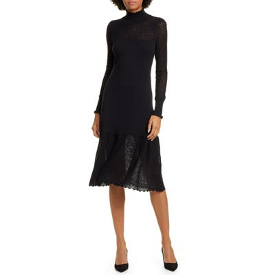 La Vie Rebecca Taylor Pointelle Long Sleeve Cotton & Wool Sweater Dress, Black