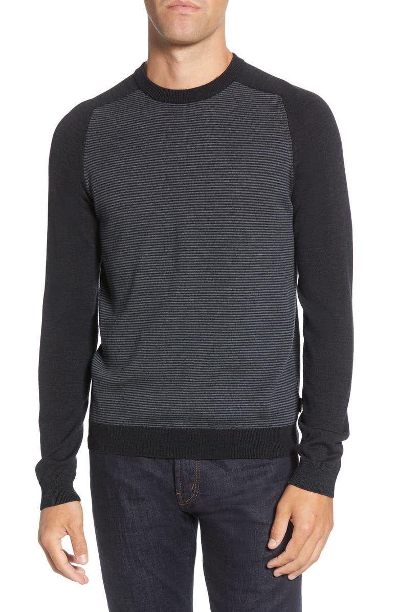 TED BAKER LONDON Stripe Crewneck Sweater, Main, color, GREY MARL