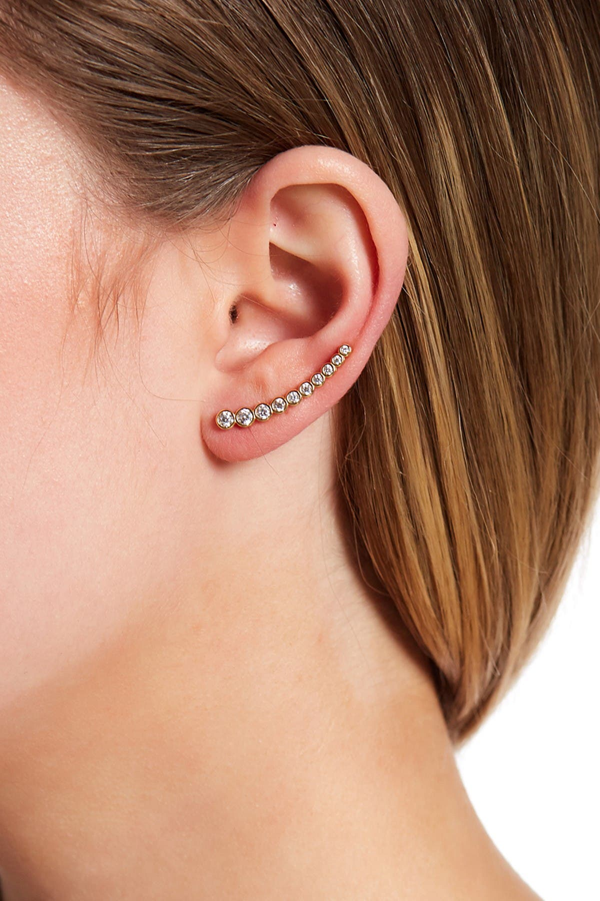 Image of ADORNIA 14K Yellow Gold Plated Bezeled Swarovski Crystal Accented Ear Climber