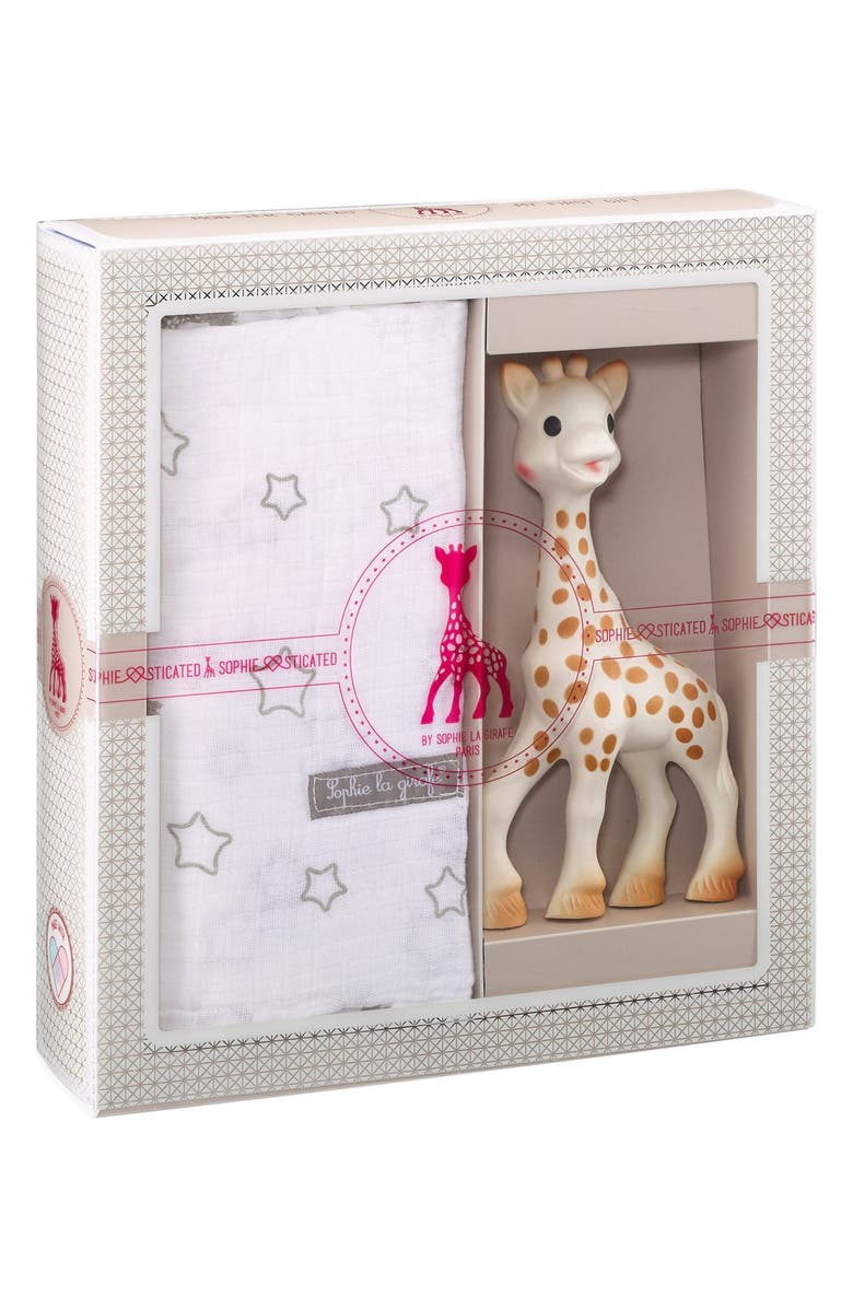 SOPHIE LA GIRAFE 'Sophiesticated' Swaddling Cloth & Teething Toy, Main, color, CREAM