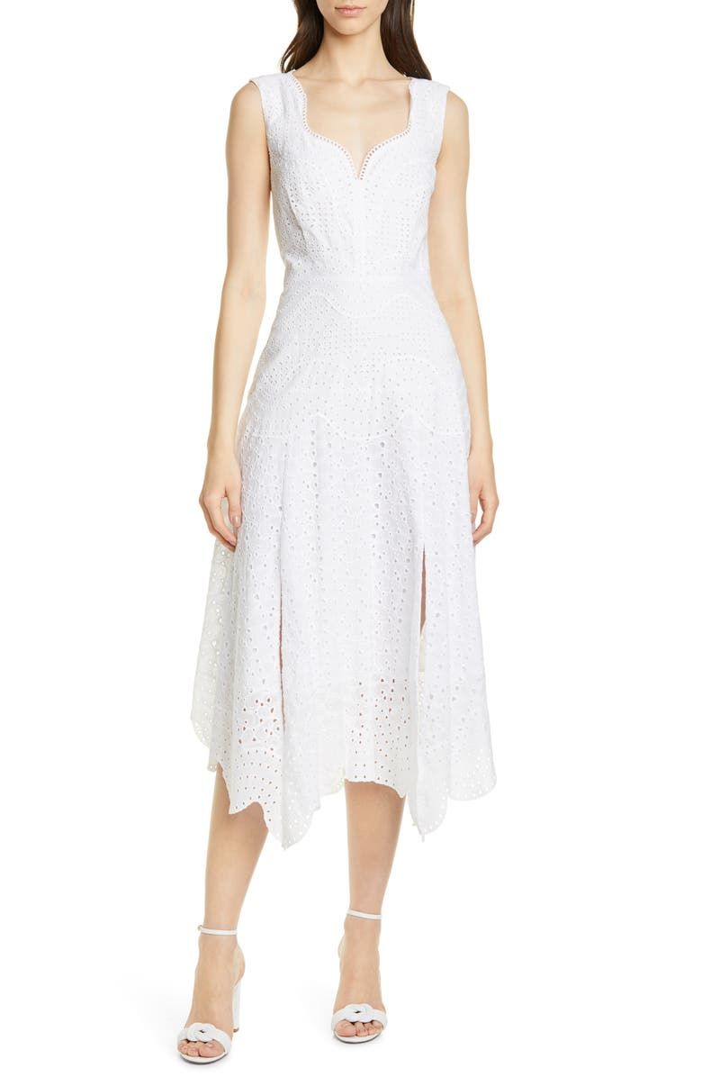 REBECCA TAYLOR Papillon V-Neck Cotton Eyelet Dress, Main, color, MILK