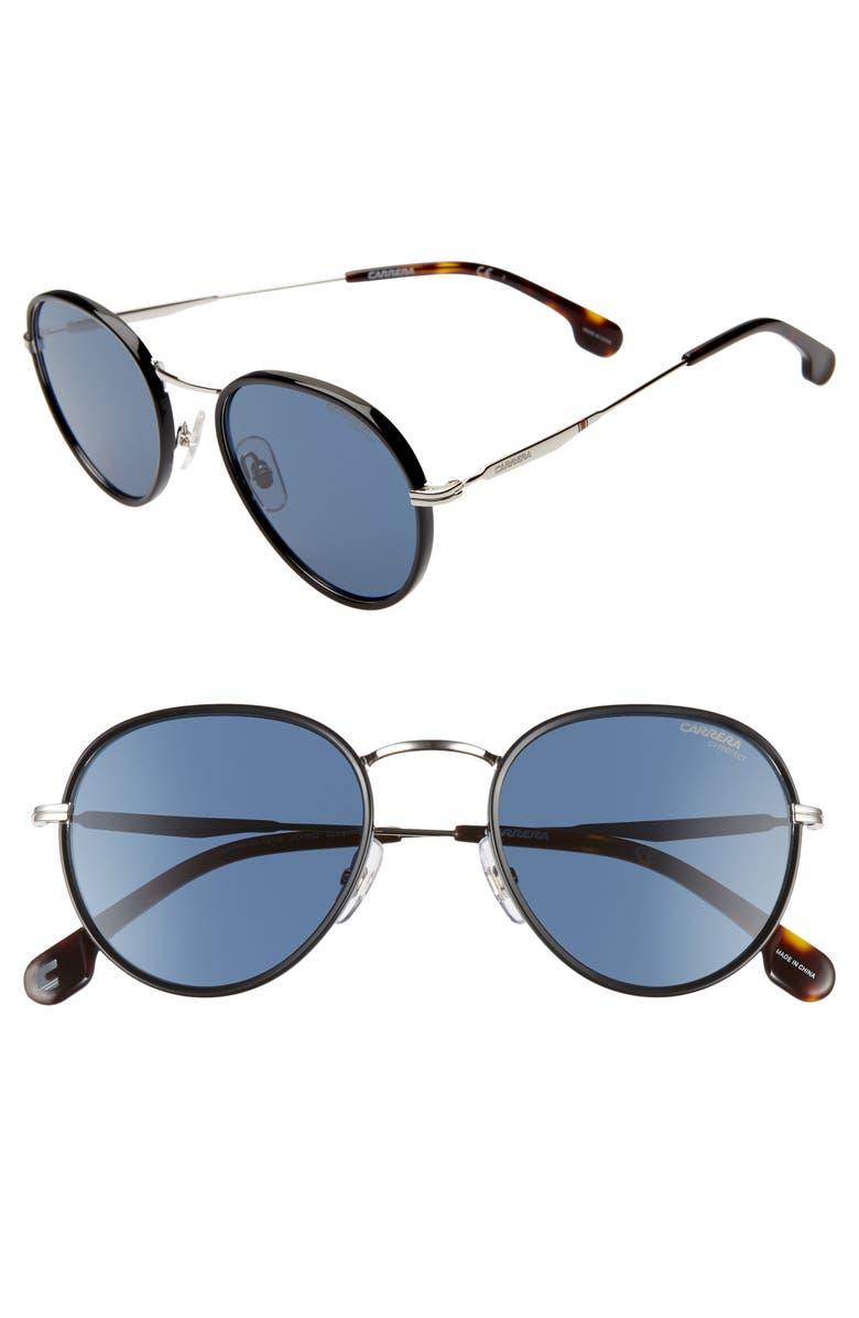 CARRERA EYEWEAR 52mm Round Sunglasses, Main, color, PALLADIUM BLUE