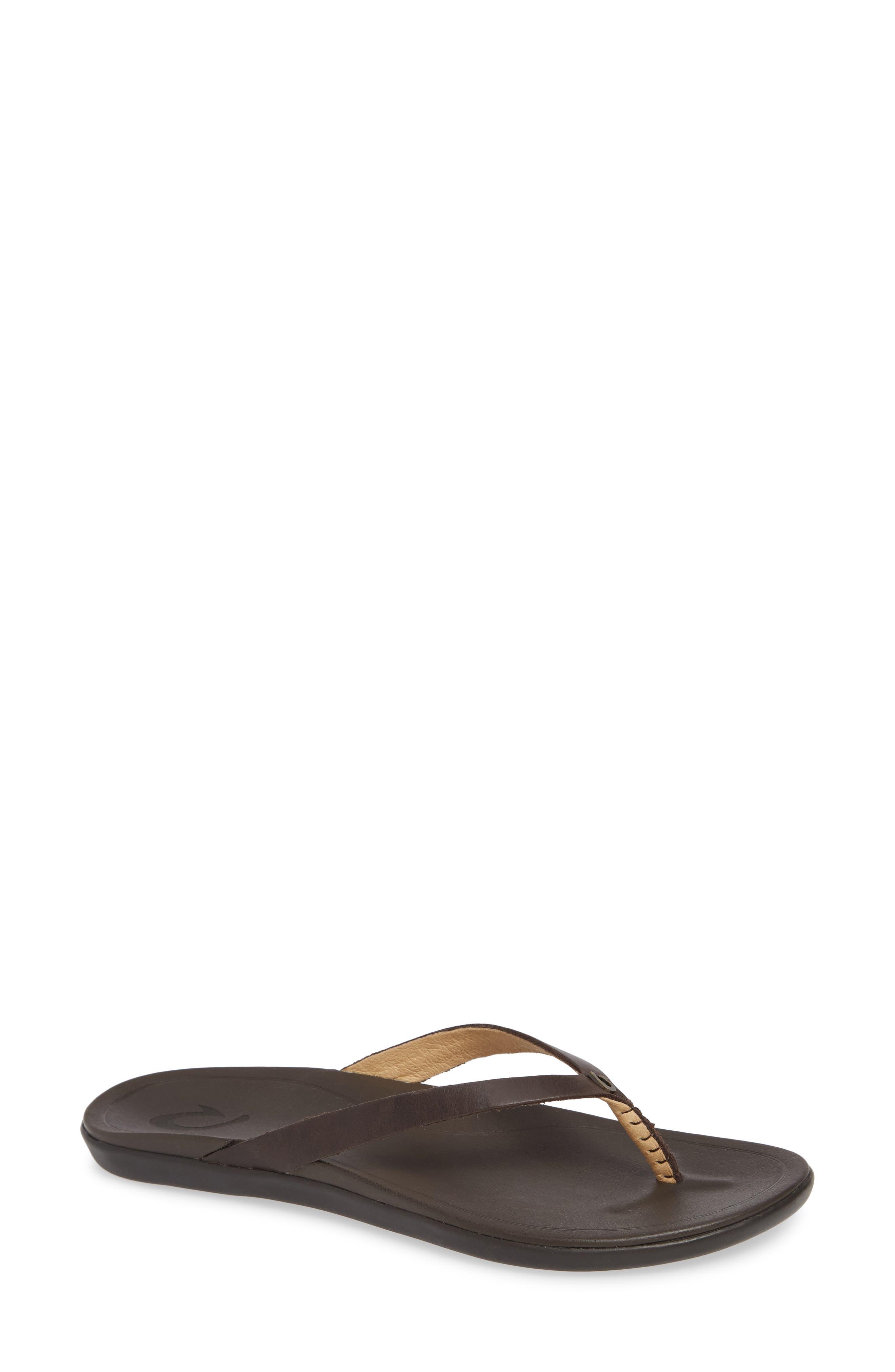 'Ho Opio' Leather Flip Flop, Main, color, DARK JAVA/ DARK JAVA LEATHER