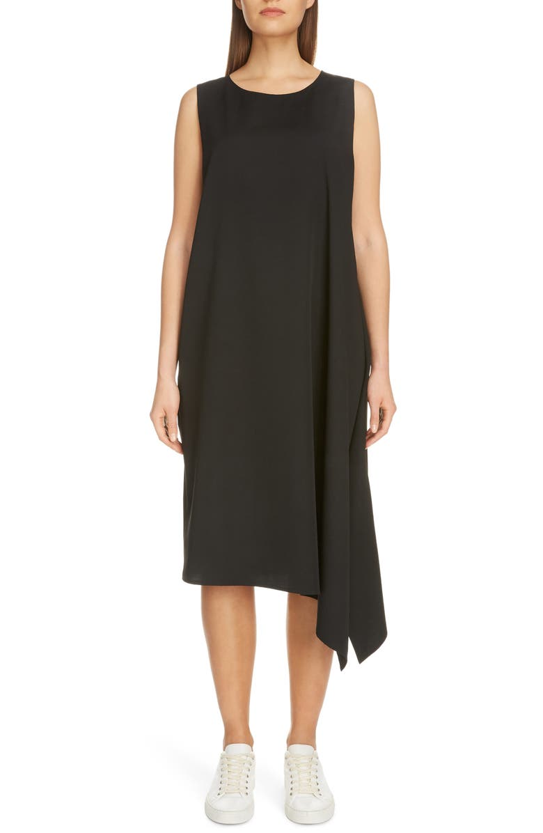 Y'S BY YOHJI YAMAMOTO Asymmetrical Wool Gabardine Midi Dress, Main, color, BLACK