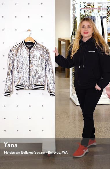 Lonnie Sequin Cropped Bomber Jacket, sales video thumbnail