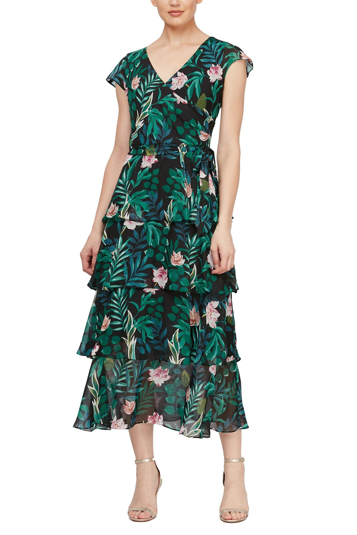 Image of SLNY Floral Tiered Ruffle Maxi Dress