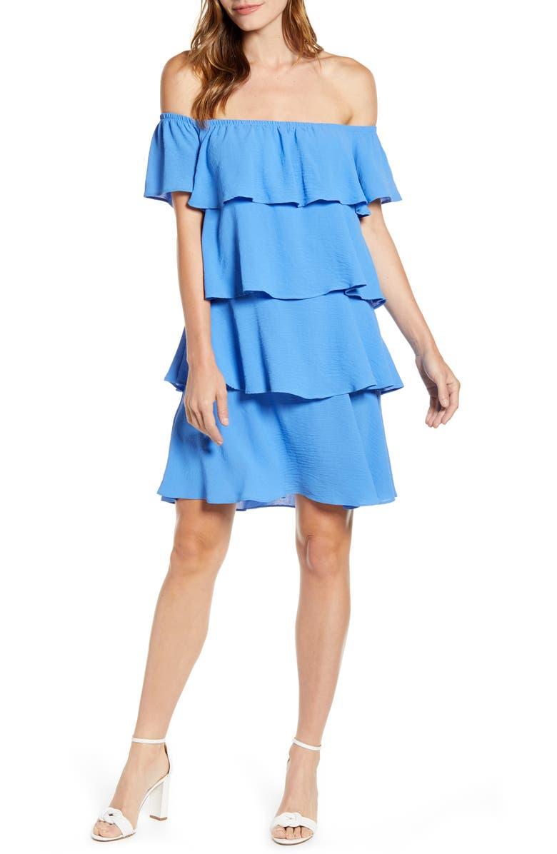 GIBSON x Hot Summer Nights Natalie Off The Shoulder Ruffle Dress, Main, color, CORNFLOWER