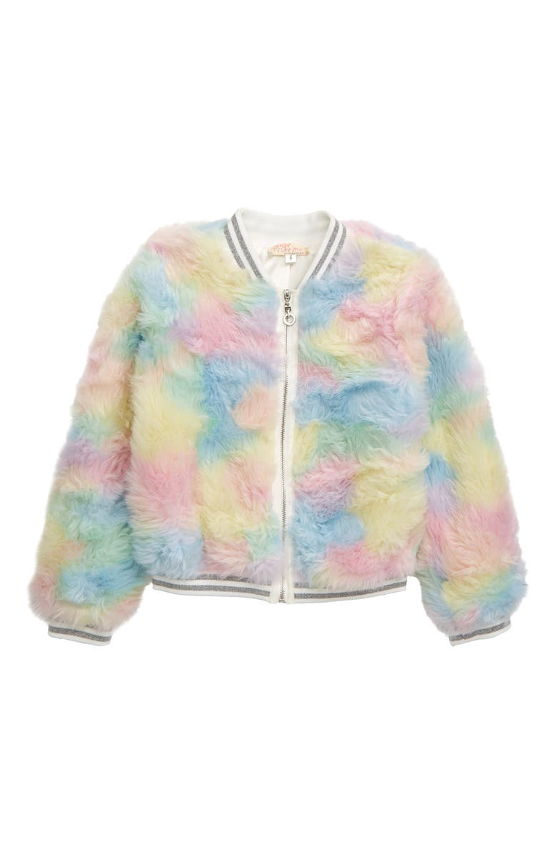 TRULY ME Faux Fur Bomber Jacket, Main, color, PINK MULTI