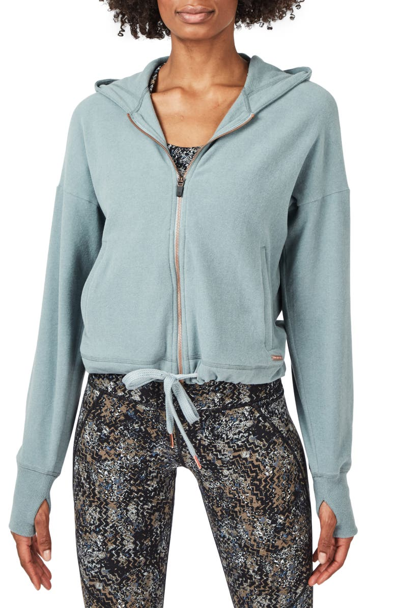 SWEATY BETTY Sanctuary Zip Hoodie, Main, color, STORM BLUE