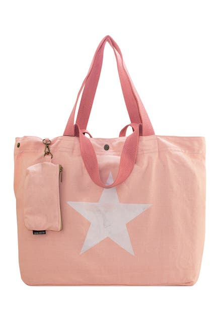 Image of Vintage Addiction Star Pale Pink Washed Canvas Bag with Coin Purse