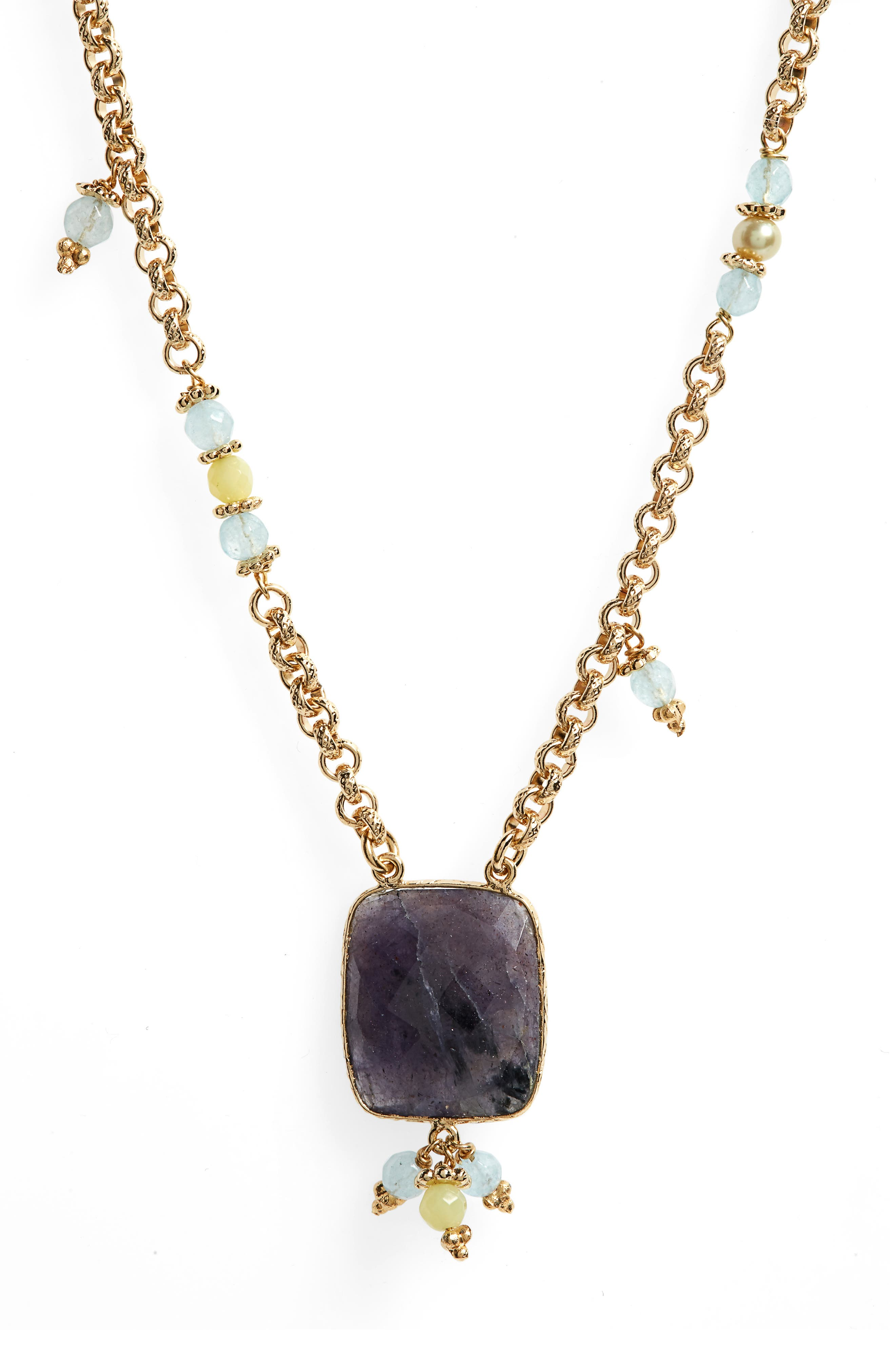 Serti Jaseron Pendant Necklace, Main, color, GREEN/ GOLD