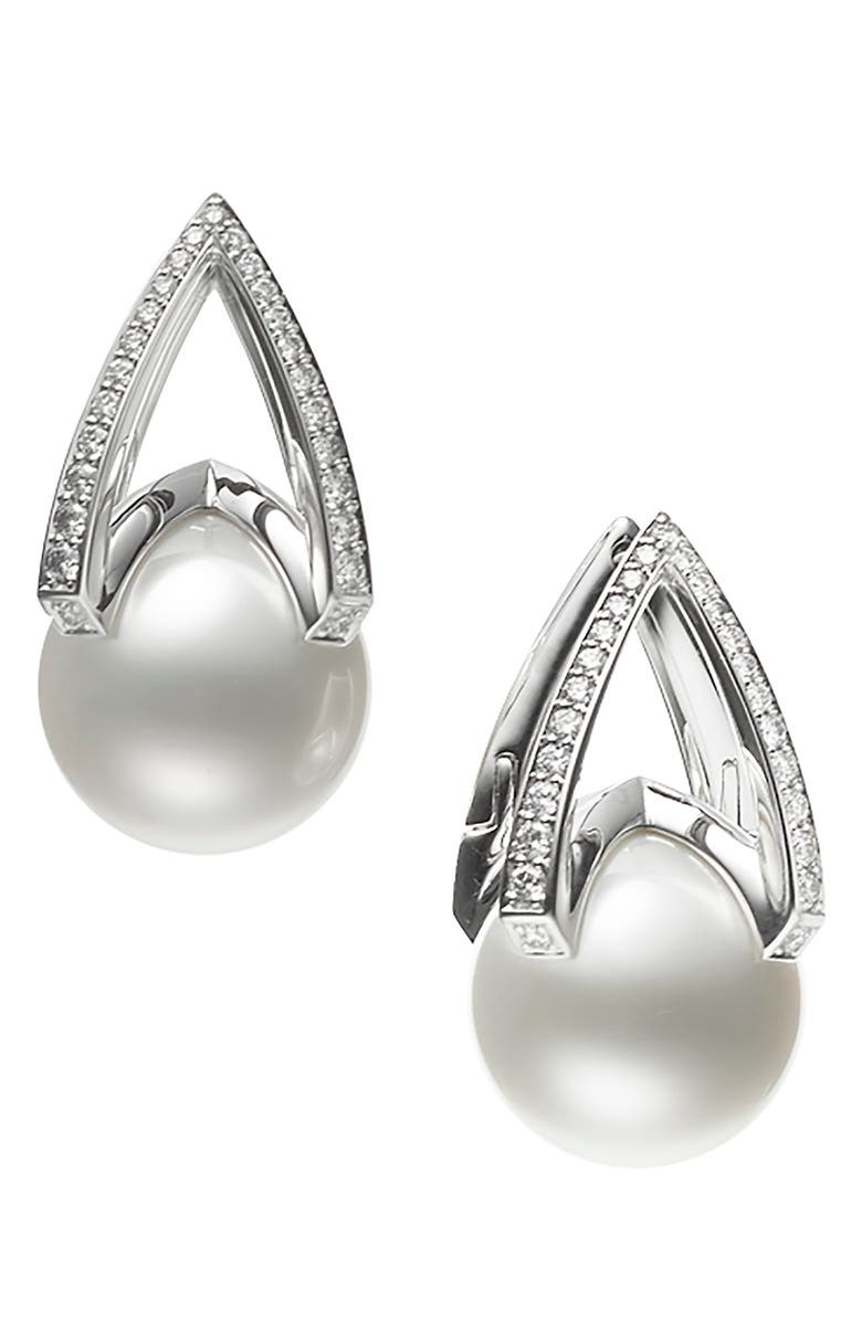 MIKIMOTO Cultured Pearl & Diamond Earrings, Main, color, WHITE GOLD