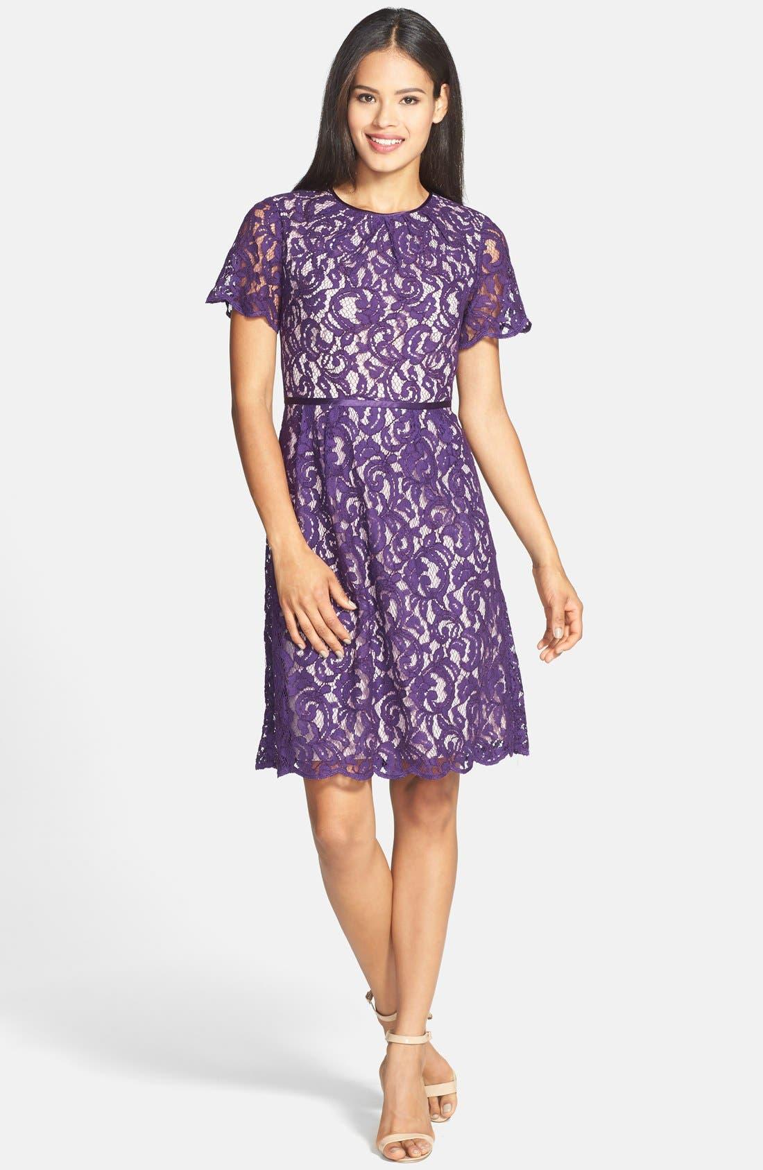,                             Scalloped Lace Dress,                             Alternate thumbnail 14, color,                             521
