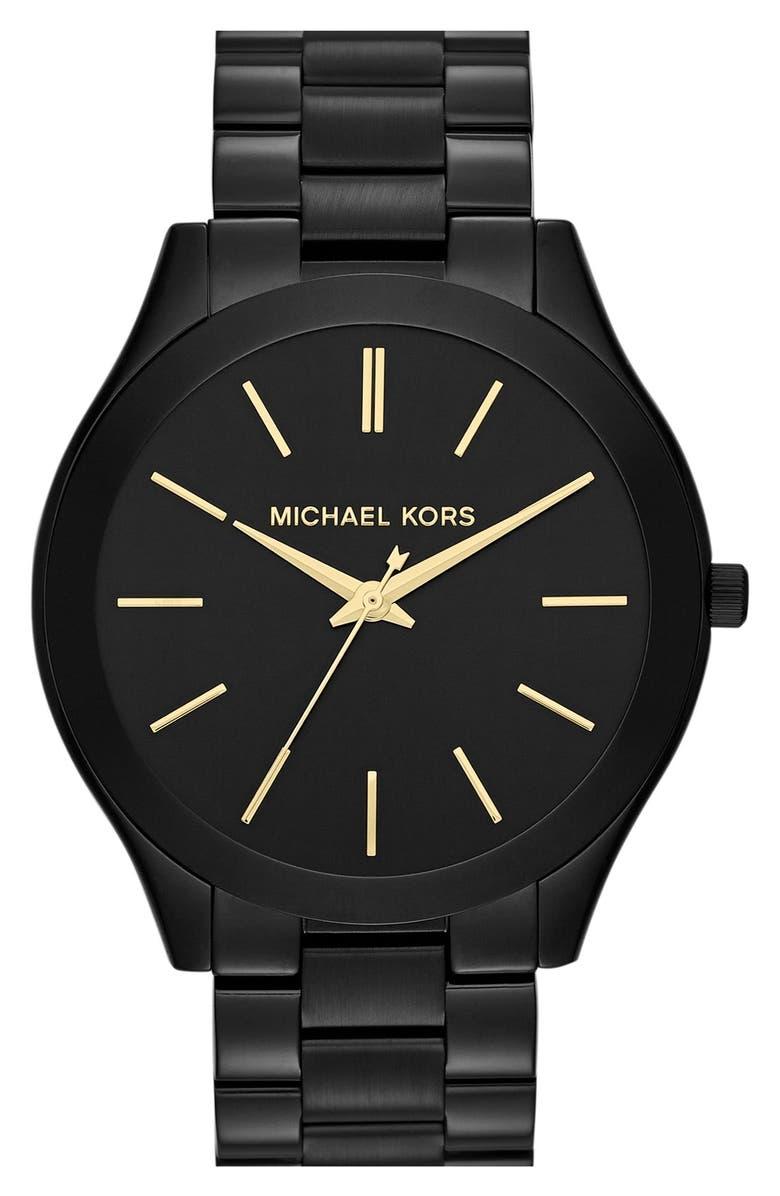 MICHAEL KORS 'Slim Runway' Bracelet Watch, 42mm, Main, color, BLACK/ GOLD