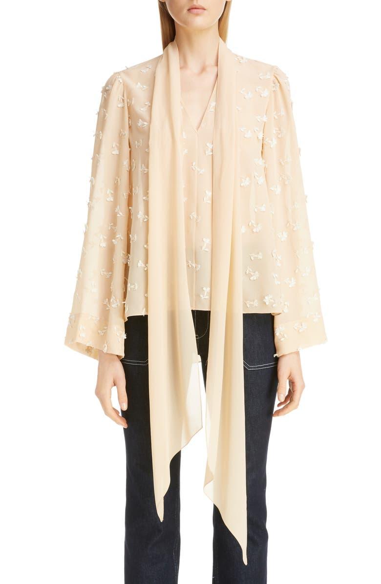 CHLOÉ Floral Appliqué Tie Neck Silk Blouse, Main, color, LIGHT SAND