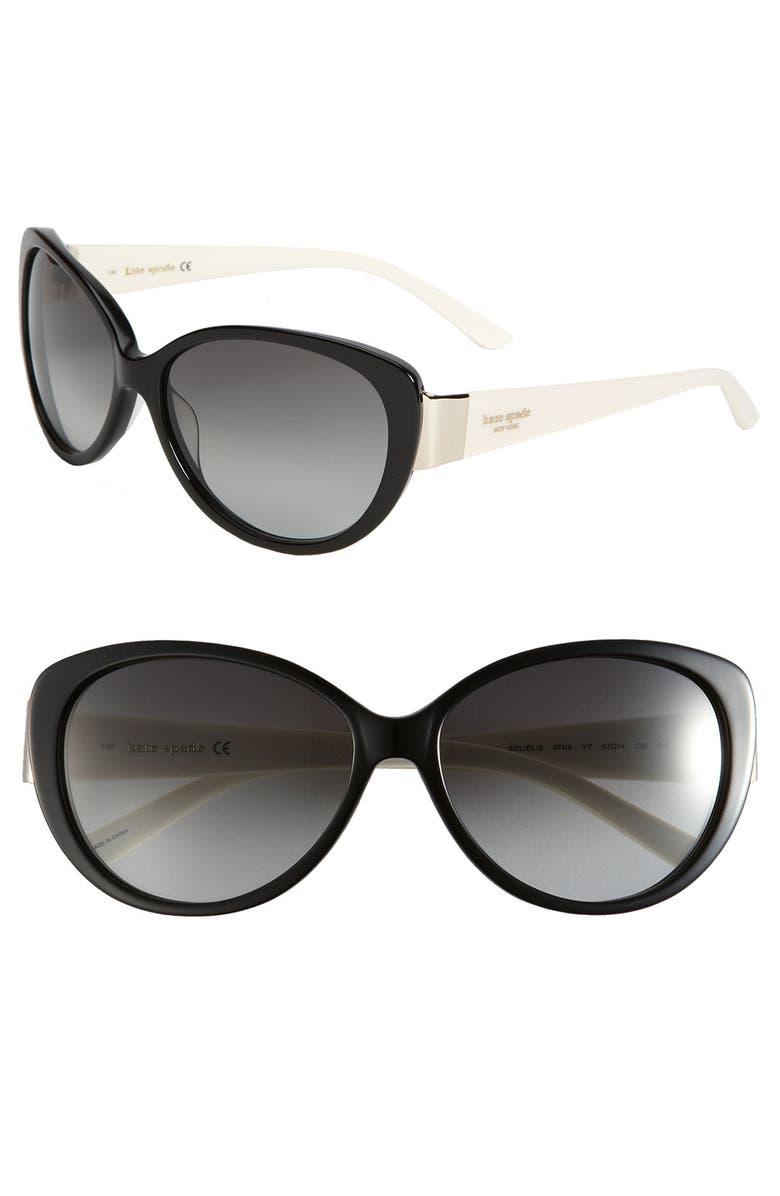 KATE SPADE NEW YORK 'soliel' cat's eye sunglasses, Main, color, 001