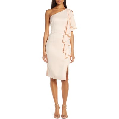 Vince Camuto One-Shoulder Ruffle Sheath Dress, 8 (similar to 1) - Pink