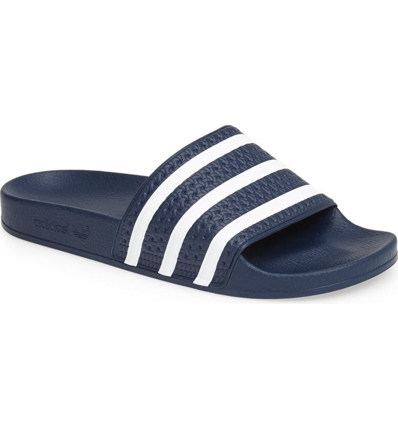 ADIDAS Adilette Stripe Sport Slide, Main, color, NAVY/ WHITE/ NAVY