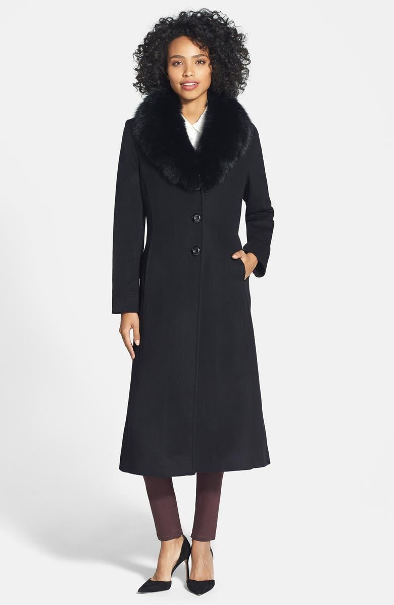 SACHI Genuine Fox Fur Collar Long Wool Blend Coat, Main, color, 001