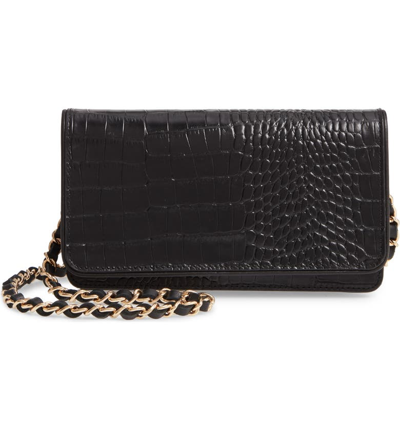 NORDSTROM Sandra Leather Clutch, Main, color, 001
