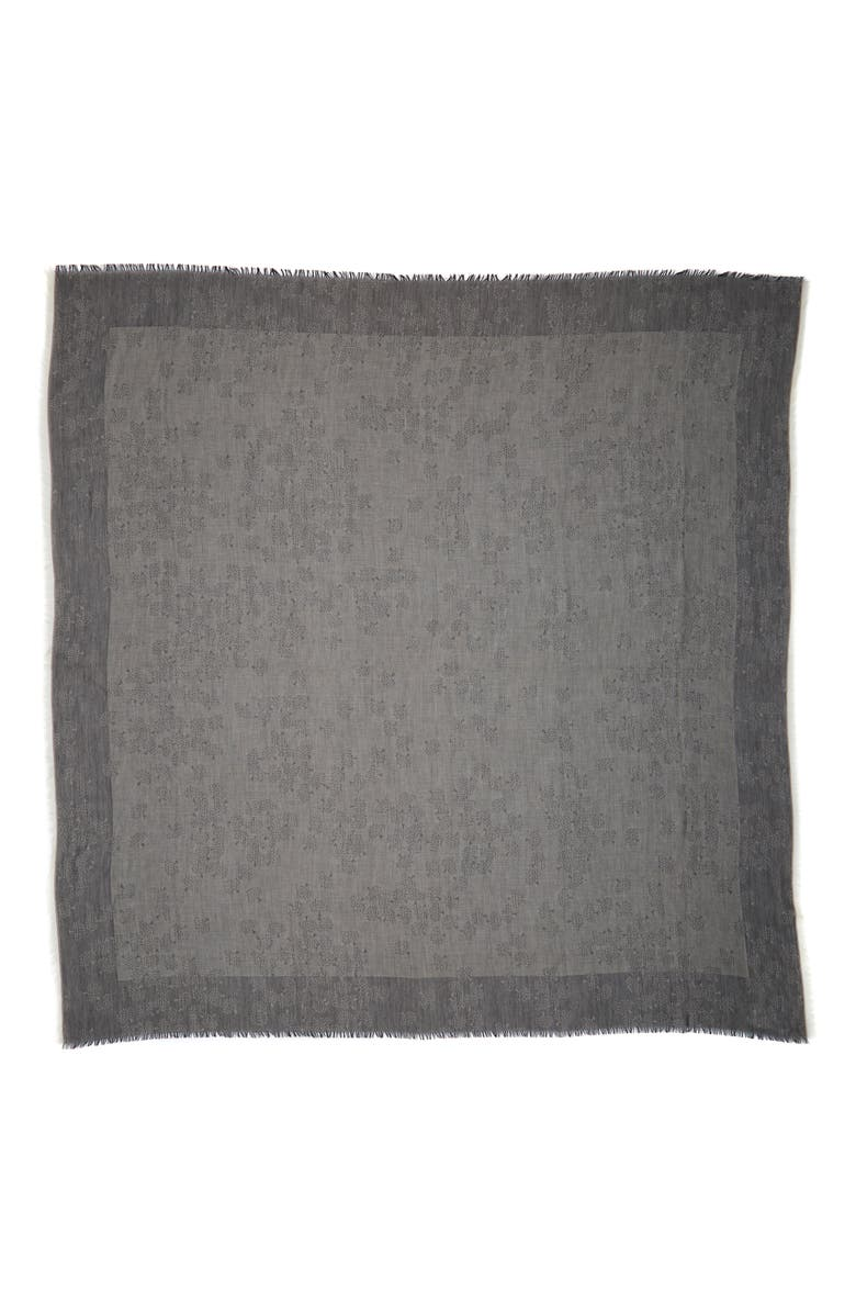 MULBERRY Tamara Cotton Square Scarf, Main, color, GREY