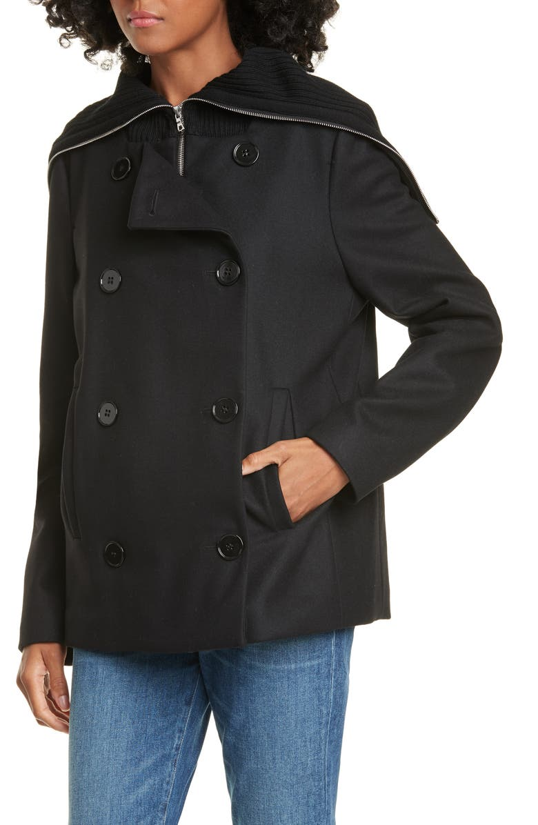 JUDITH & CHARLES Michelangelo Wool Blend Coat, Main, color, BLACK
