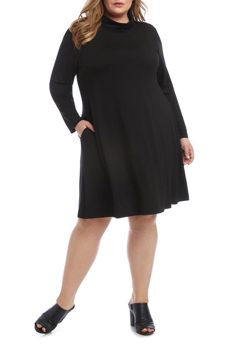 KAREN KANE Quinn Long Sleeve Turtleneck Dress, Main, color, BLACK