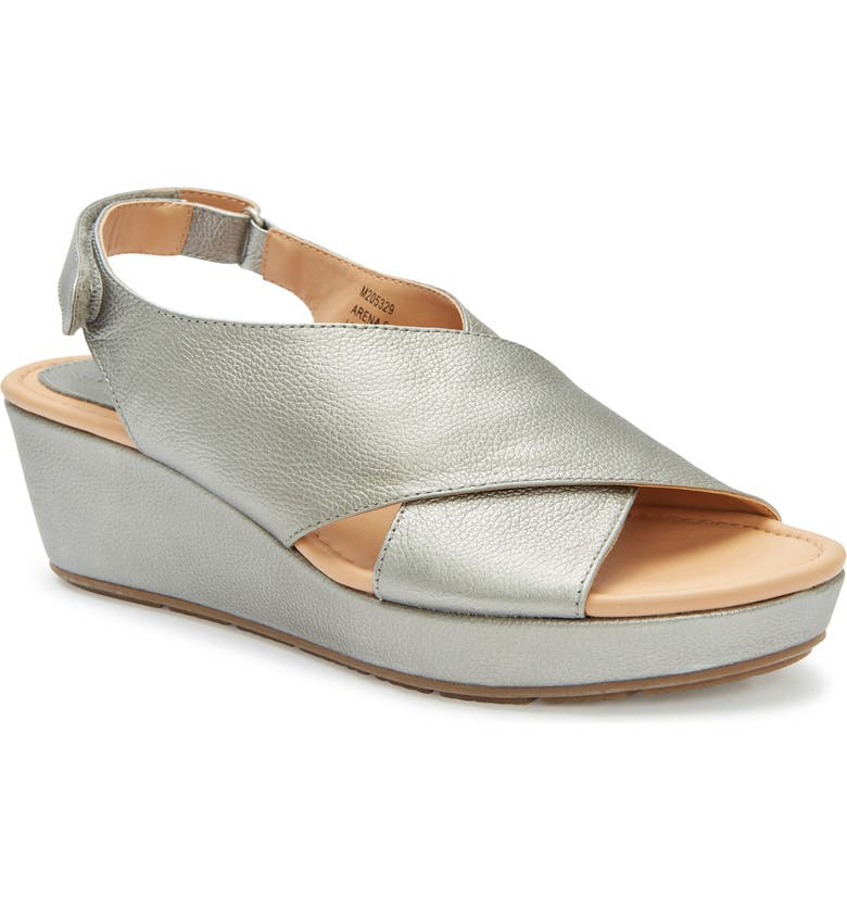 81724ba5e4 Arena Wedge Sandal, Main, color, PEWTER METALLIC LEATHER