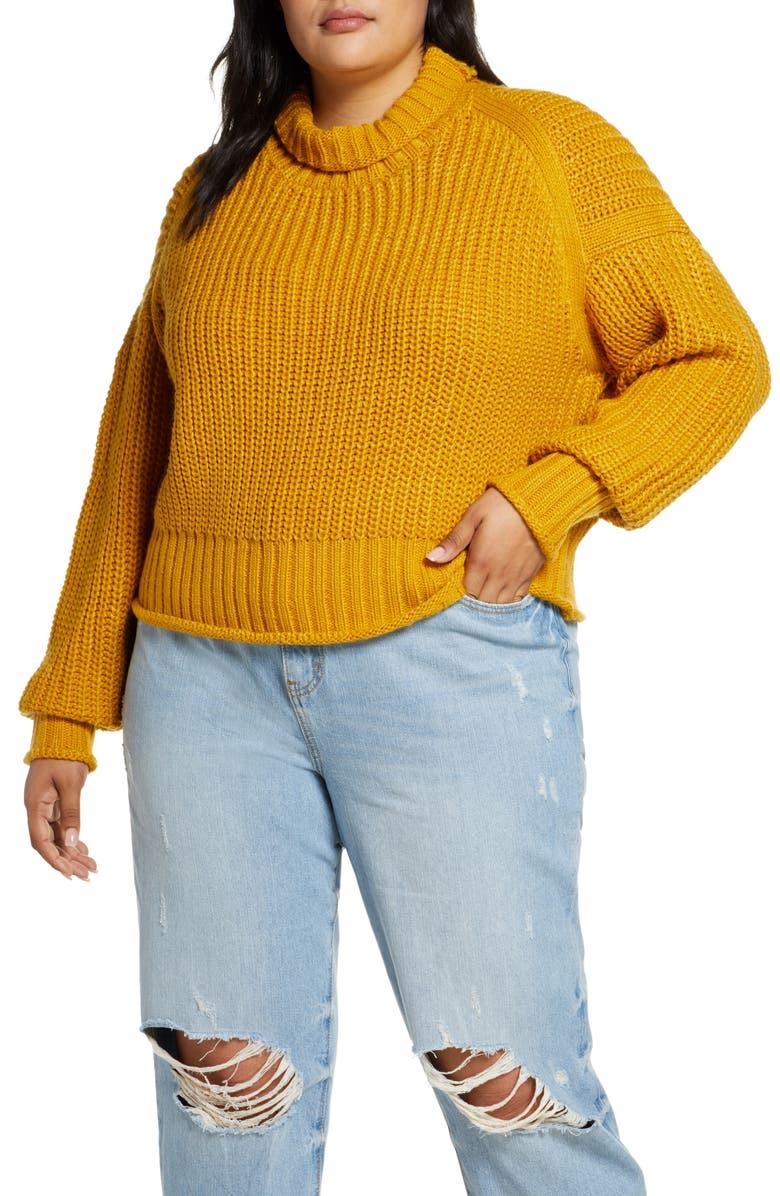 ELOQUII R29 x ELOQUII Turtleneck Shaker Stitch Sweater, Main, color, WARM WEEKEND