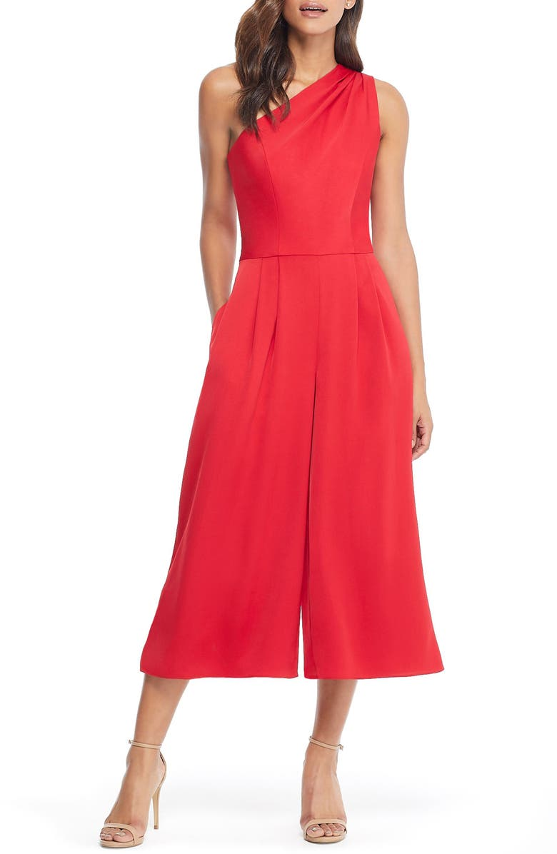 GAL MEETS GLAM COLLECTION Carmen One-Shoulder Crepe Jumpsuit, Main, color, 603