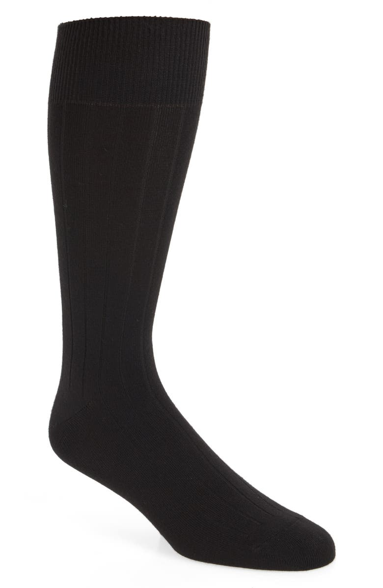 NORDSTROM MEN'S SHOP Ultra Soft Solid Ribbed Socks, Main, color, BLACK