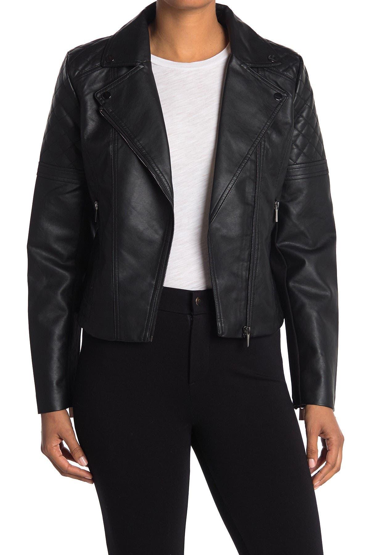 Vakkest Womens Cool Faux Leather Zipper Ruffle Slim Fit PU Moto Biker Jacket Outwear