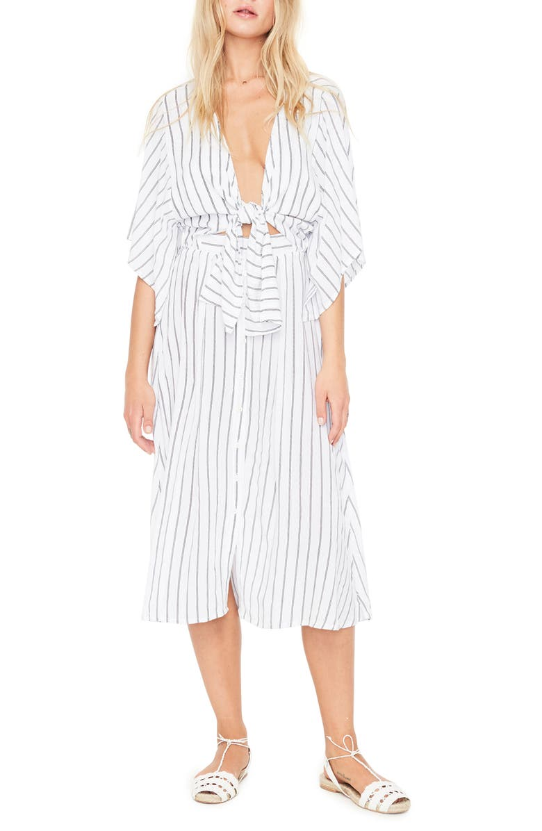 FAITHFULL THE BRAND Massimo Stripe Midi Dress, Main, color, 100