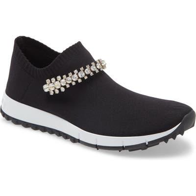 Jimmy Choo Verona Crystal Embellished Knit Sneaker, Black