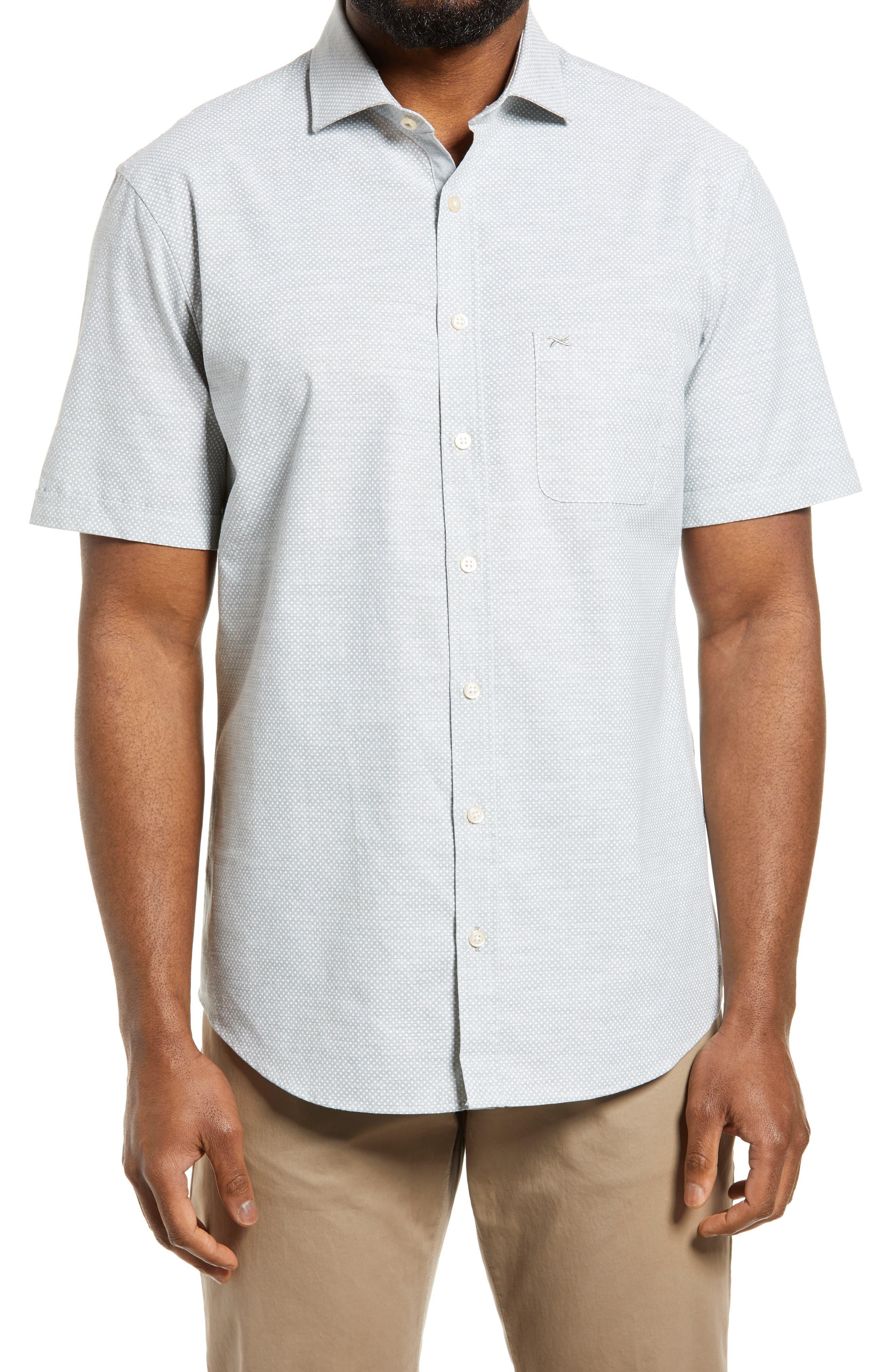 Hardy Modern Fit Dot Short Sleeve Button-Up Cotton & Linen Shirt