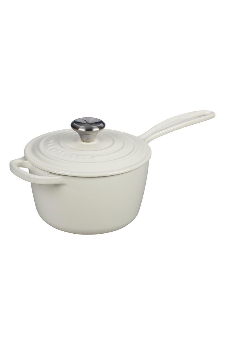 LE CREUSET 'Signature' 1 3/4 Quart Cast Iron Saucepan, Main, color, WHITE