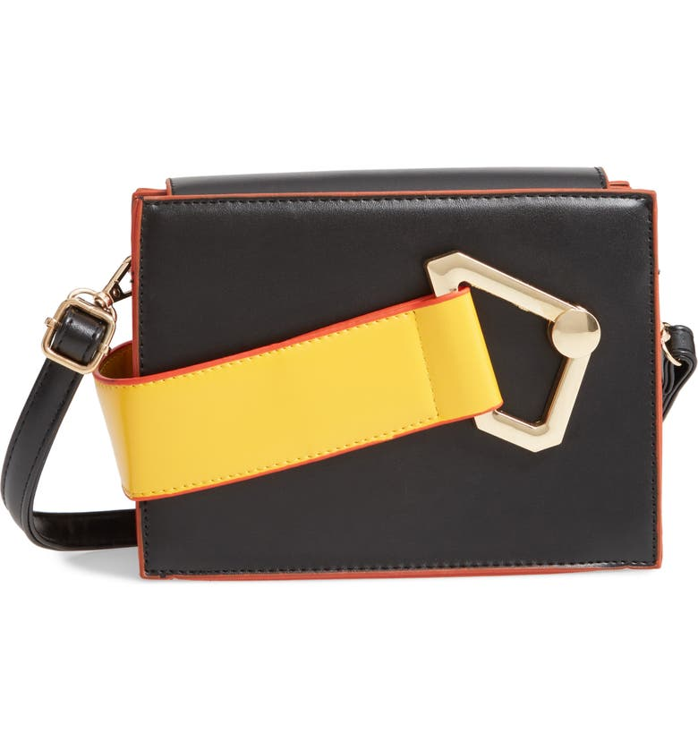 KNOTTY Contrast Strap Faux Leather Crossbody Bag, Main, color, BLACK/ YELLOW