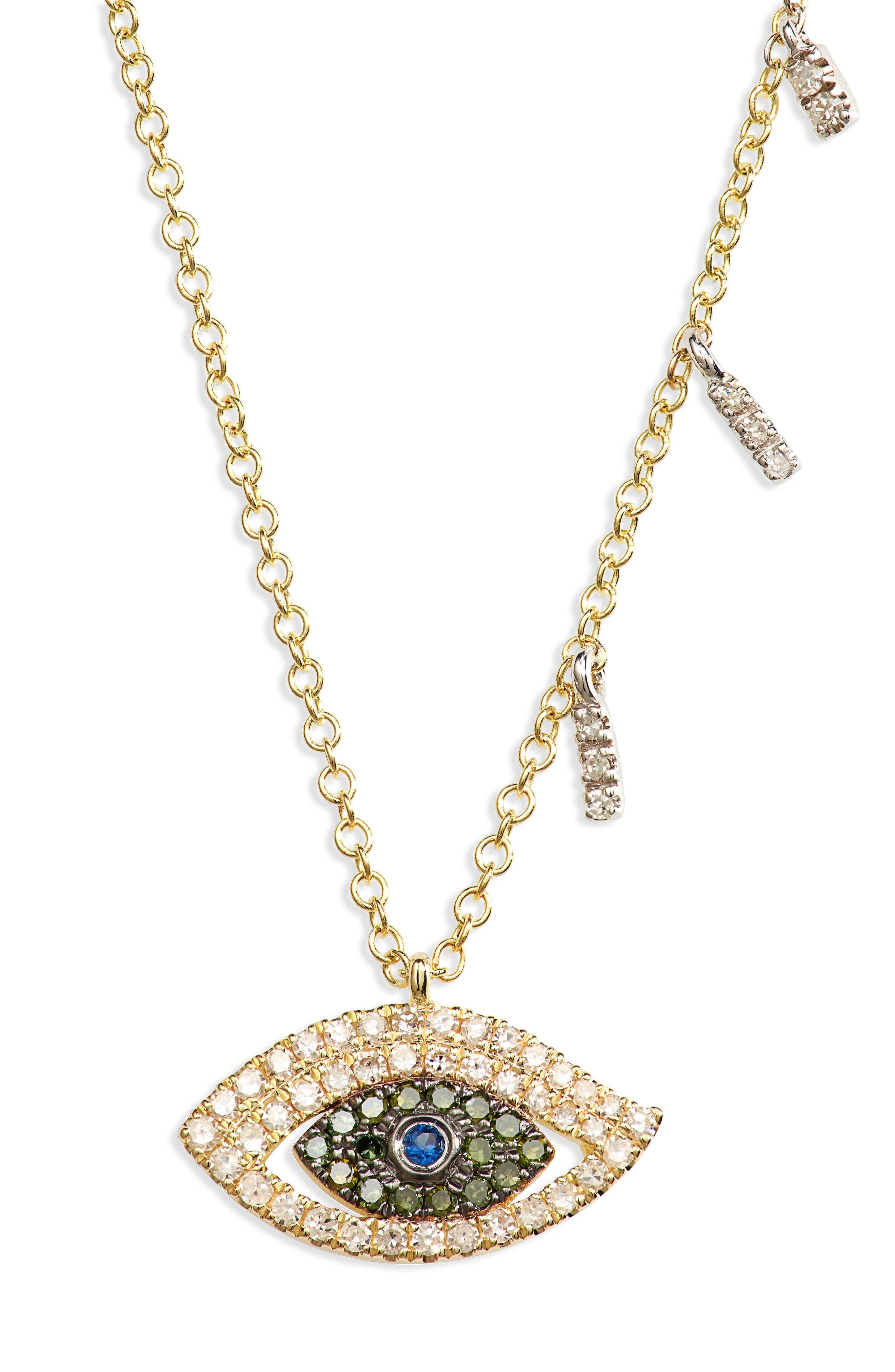 Evil Eye Sapphire & Diamond Pendant Necklace