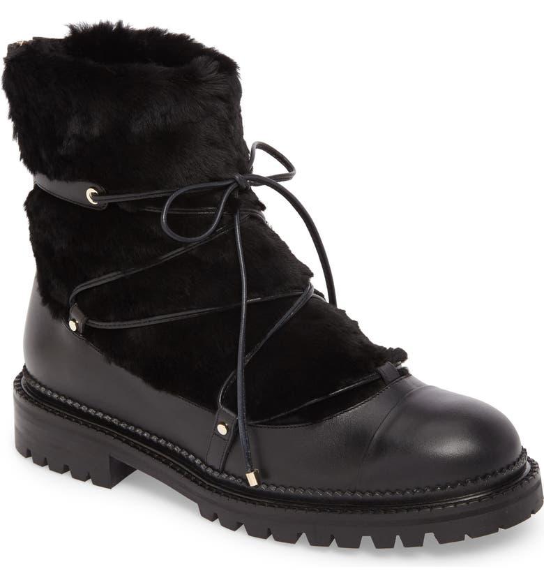 JIMMY CHOO Darcie Genuine Shearling Boot, Main, color, 001