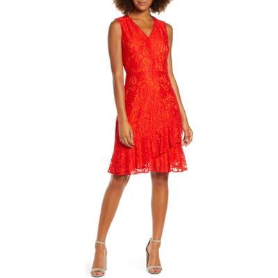 Sam Edelman Ruffle Tiered Lace Dress, Orange