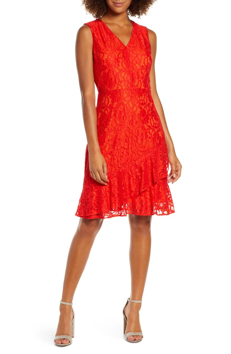 SAM EDELMAN Ruffle Tiered Lace Dress, Main, color, ORANGE