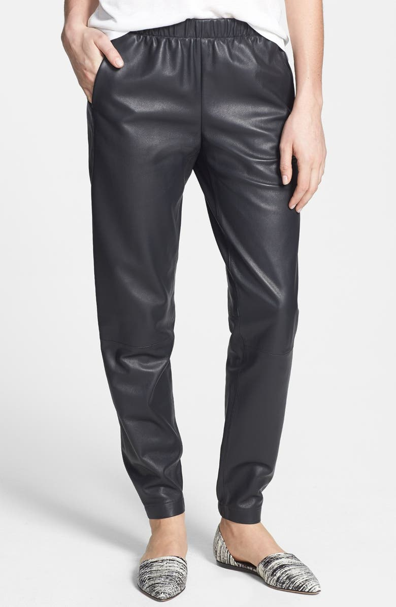 VINCE Wrap Seam Leather Track Pants, Main, color, 020