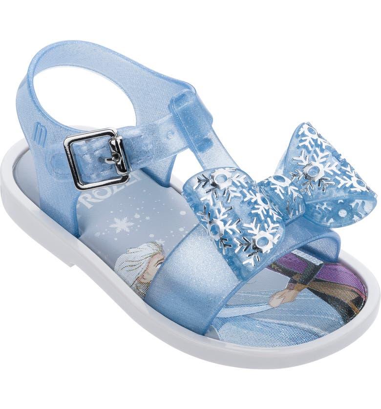 MINI MELISSA x Disney Frozen Mar Glitter Sandal, Main, color, WHITE BLUE/ BLUE