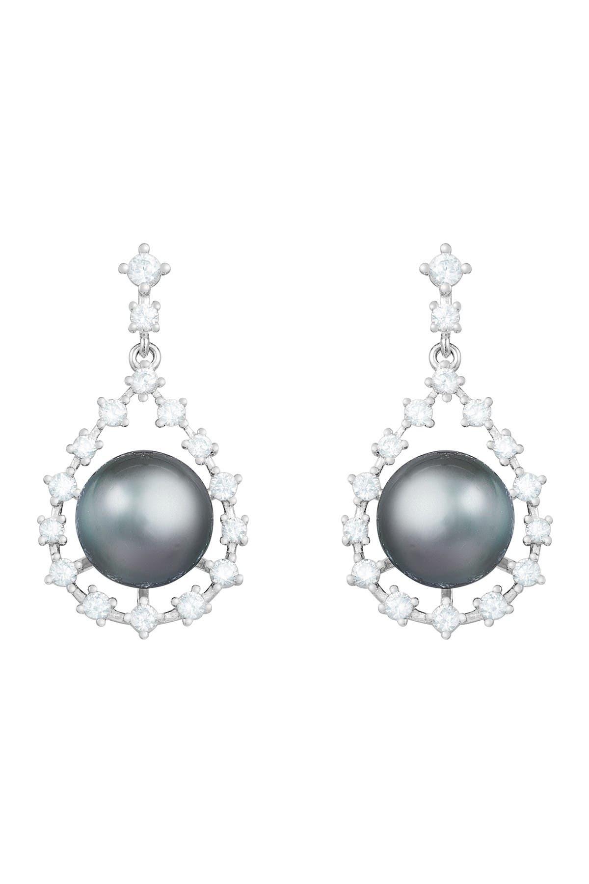 Splendid Pearls Sterling Silver 9-10mm Black Tahitian Pearl CZ Drop Earrings