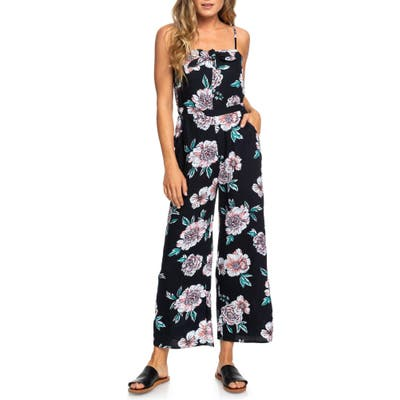 Roxy Feel The Retro Spirit Floral Jumpsuit, Black
