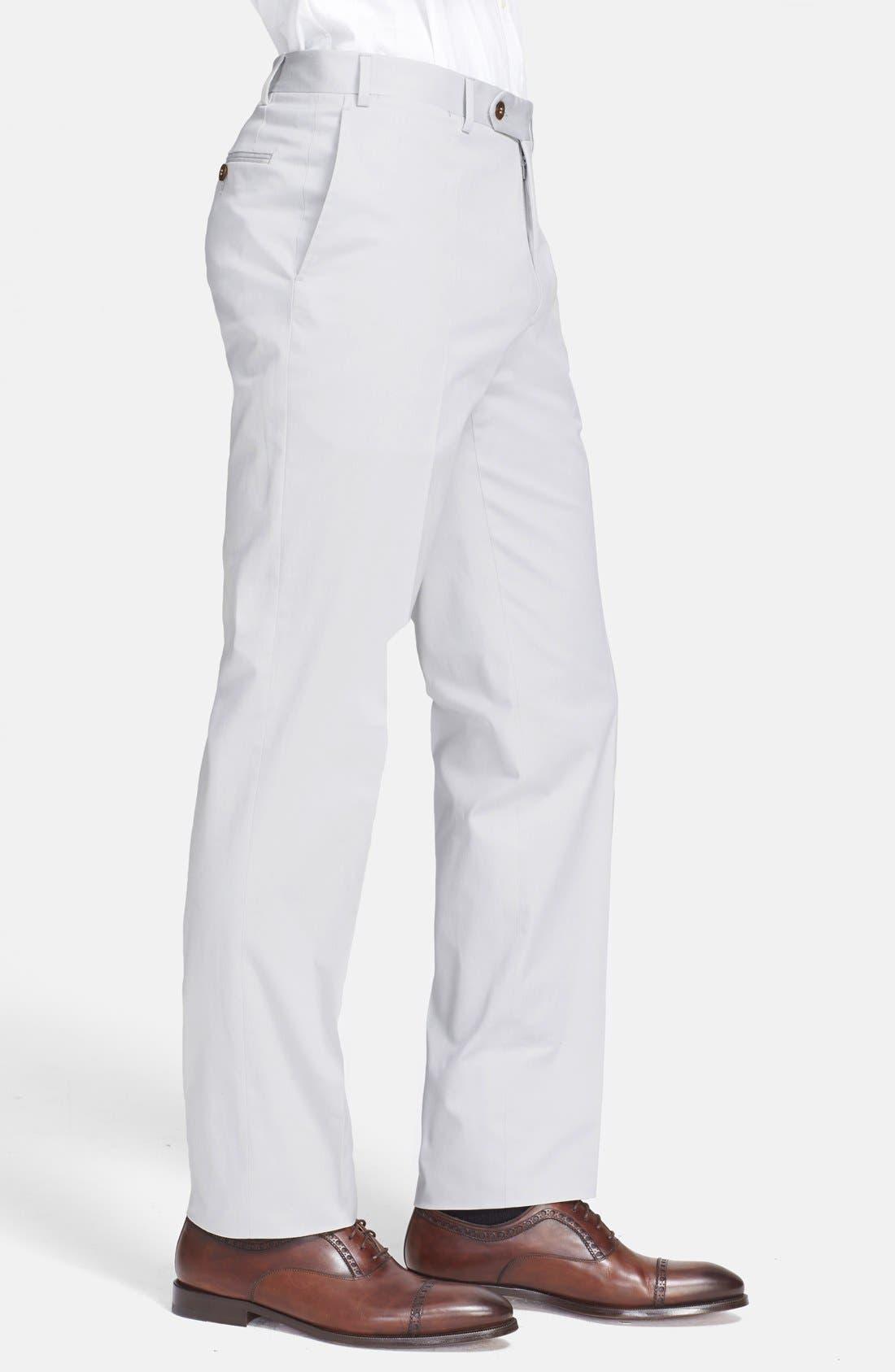 ,                             Flat Front Cotton Blend Trousers,                             Alternate thumbnail 4, color,                             020