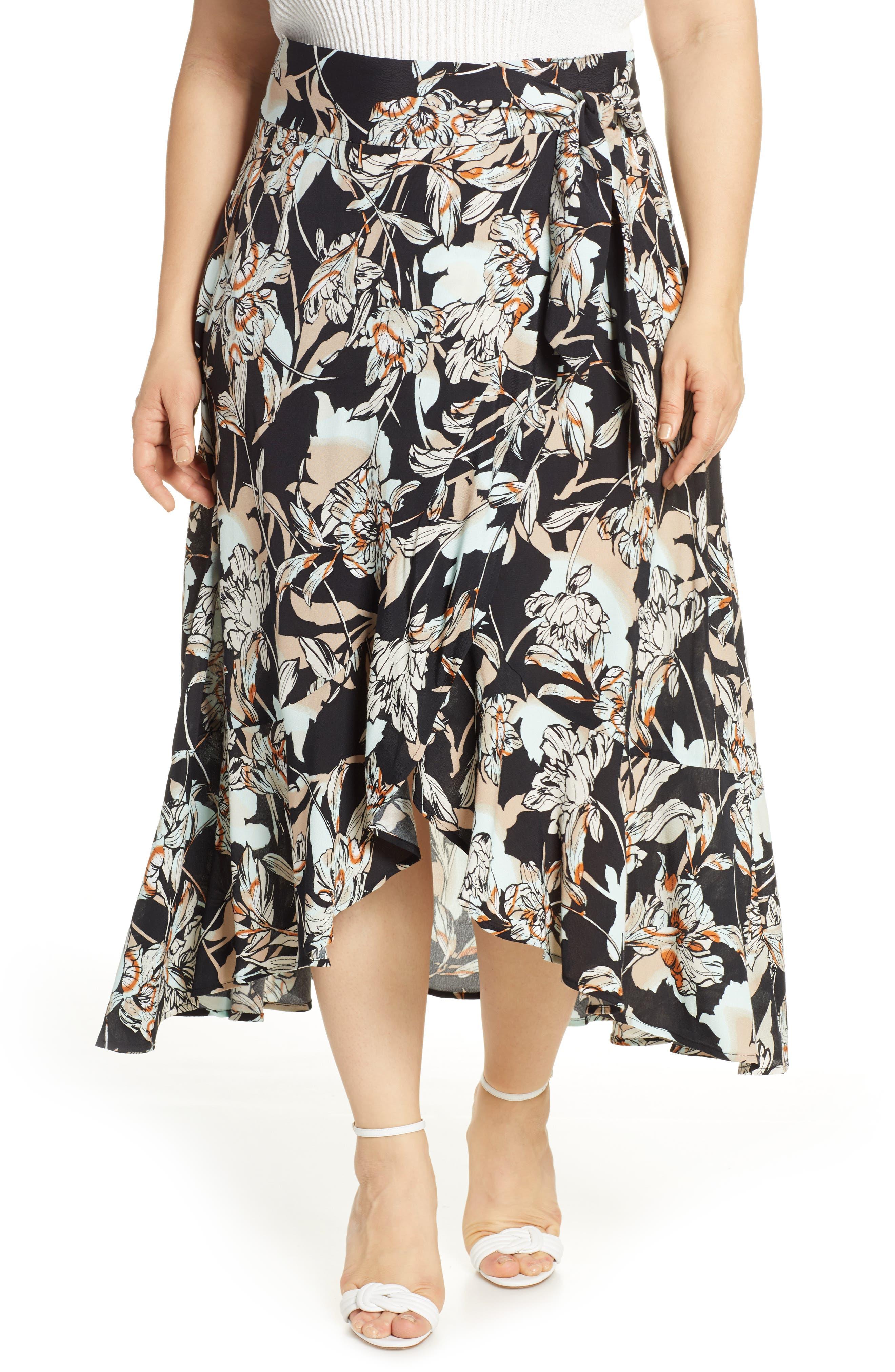 Plus Size Leith Flowy Wrap Midi Skirt, Black
