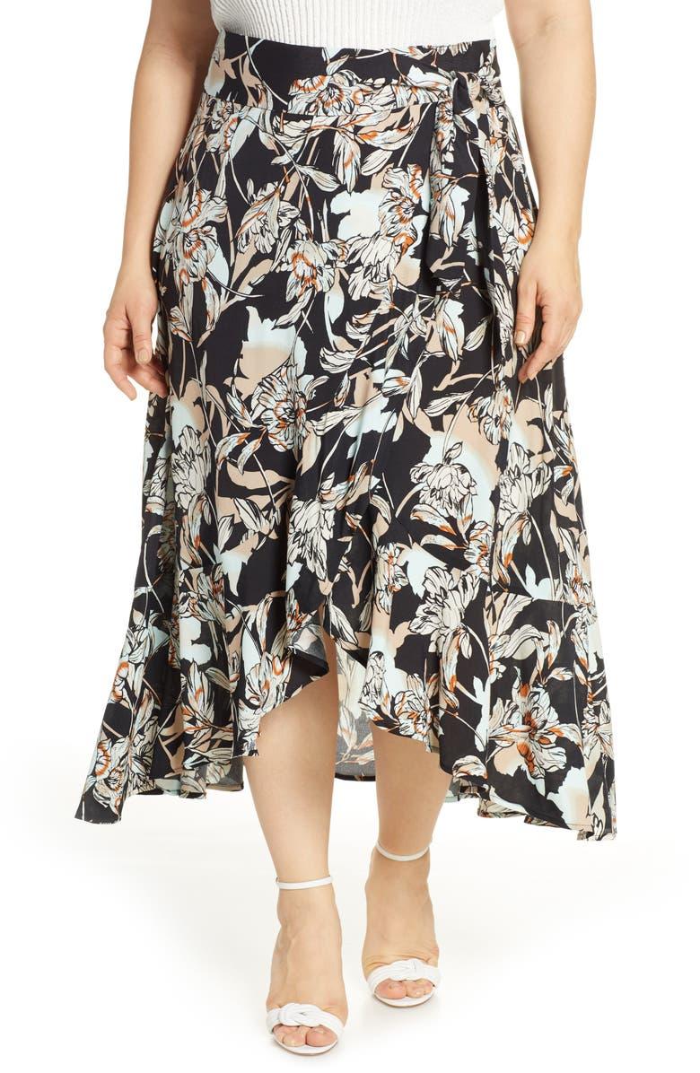 LEITH Flowy Wrap Midi Skirt, Main, color, BLACK AURA FLORAL